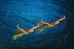 Nuoto sincrono Fotografia Stock Libera da Diritti