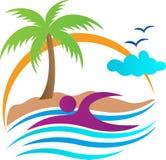 Nuoto tropicale della spiaggia illustrazione di stock
