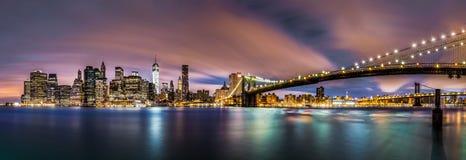 Nuova alba sopra il Lower Manhattan fotografie stock libere da diritti