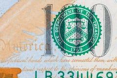 Nuova banconota in dollari degli Stati Uniti 100 Fotografia Stock