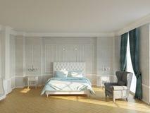 Nuova camera da letto classica con il camino e la finestra royalty illustrazione gratis