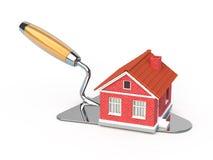 Nuova casa del mattone sul trowel della costruzione royalty illustrazione gratis