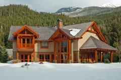 Nuova casa di sogno di legno americana Fotografia Stock