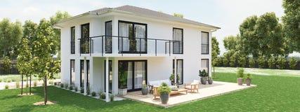 Nuova casa moderna con la grande proprietà rappresentazione 3d Fotografia Stock