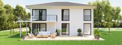 Nuova casa moderna con la grande proprietà rappresentazione 3d Fotografia Stock Libera da Diritti