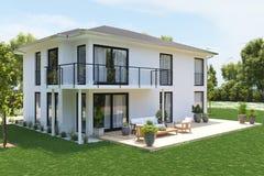 Nuova casa moderna con la grande proprietà rappresentazione 3d Fotografie Stock