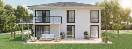 Nuova casa moderna con la grande proprietà rappresentazione 3d Immagini Stock Libere da Diritti