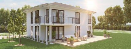 Nuova casa moderna con la grande proprietà rappresentazione 3d Fotografie Stock Libere da Diritti
