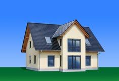 Nuova, casa moderna della famiglia, isolata Fotografie Stock