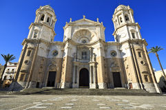 Nuova cattedrale, o Catedral de Santa Cruz su Cadice, Andalusia Spagna Fotografie Stock Libere da Diritti