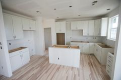 Nuova costruzione domestica della cucina Fotografia Stock Libera da Diritti