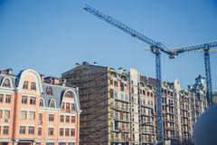 Nuova costruzione, gru Fotografia Stock Libera da Diritti