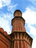 Nuova Delhi: Minareto della moschea di Jama Masjid, India immagine stock