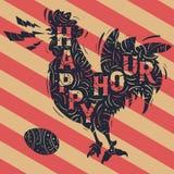 Nuova etichetta d'annata di happy hour con il disegno di canto del gallo Immagine Stock