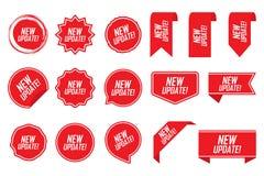 Nuova etichetta dell'aggiornamento messa nel rosso Illustrazione di vettore illustrazione di stock