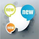 Nuova etichetta, verde, blu, arancio Fotografia Stock