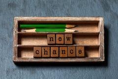 Nuova frase di probabilità Motivazione e concetto positivo di aspettative Scatola d'annata, cubi di legno con le lettere di vecch immagini stock
