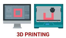 Nuova generazione di stampatrice 3D che stampa un modello di plastica Immagini Stock