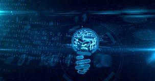 Nuova idea con l'animazione cyber del ciclo di concetto di forma della lampadina illustrazione di stock