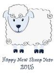 Nuova illustrazione felice 2015 di anno delle pecore Immagini Stock Libere da Diritti