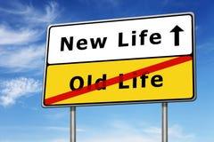 Nuova immagine di concetto del segnale stradale di vita immagine stock
