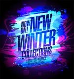 Nuova insegna delle collezioni invernali, collezioni di autunno di vendita illustrazione di stock