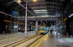 Nuova linea del tram in tunnel a Poznan, Polonia Immagini Stock Libere da Diritti