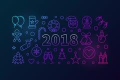 Nuova linea felice illustrazione colorata o insegna di vettore di 2018 anni Fotografia Stock Libera da Diritti
