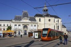 Nuova linea tranviaria nel centro urbano di Le Mans Fotografie Stock Libere da Diritti