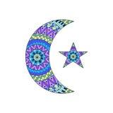 Nuova luna e stella disegnate a mano per l'anti pagina di coloritura di sforzo Fotografie Stock