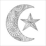 Nuova luna e stella disegnate a mano per l'anti pagina di coloritura di sforzo Immagine Stock