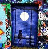 Nuova luna segreta della porta blu scuro Immagine Stock