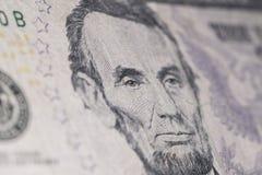 Nuova macro americana della banconota di cinque dollari Fotografia Stock