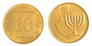 Nuova moneta israeliana dell'agora 10 Fotografia Stock
