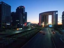 nuova notte del distretto di fabbricazione di Pechino Immagini Stock