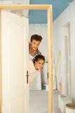 Nuova nuova porta domestica Fotografie Stock