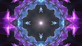 Nuova qualità del poligono della stella di forma del caleidoscopio della nuvola del fondo brillante PORPORA BLU simmetrico astrat illustrazione vettoriale