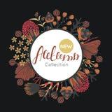 Nuova raccolta di autunno Caduta Blocco per grafici rotondo floreale Fiori disegnati a mano intorno al cerchio illustrazione vettoriale