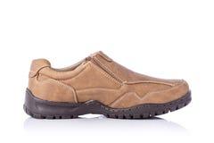 Nuova scarpa marrone degli uomini Colpo dello studio isolato su bianco Fotografie Stock