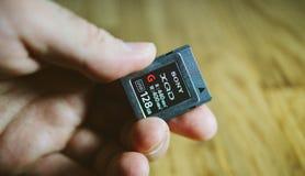 Nuova scheda di memoria di XQD da Sony in mano dell'uomo Immagini Stock Libere da Diritti