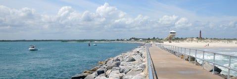 Nuova spiaggia di Smyrna panoramica Immagine Stock Libera da Diritti