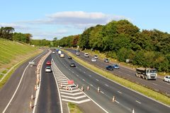 Nuova strada di slittamento sull'autostrada M6 a Lancaster Immagini Stock Libere da Diritti