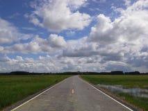 Nuova strada sui campi sul cielo luminoso Hadyai, Tailandia Fotografia Stock