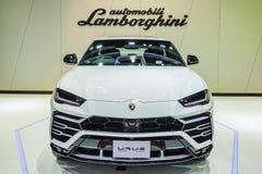 Nuova SUV automobile eccellente di Lamborghini Urus su esposizione nel quarantesimo salone dell'automobile internazionale di Bang fotografie stock