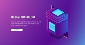 Nuova tecnologia digitale, stanza del server, blocchetto del computer con informazioni protette, concetto di crittografia di dati illustrazione vettoriale