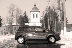 Nuova vendita dell'abete dell'automobile Fotografie Stock