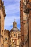 Nuova via Spagna della cattedrale di Salamanca della cupola di pietra Fotografie Stock Libere da Diritti