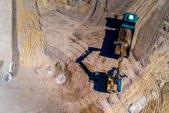 Nuova vista aerea del sito della costruzione di strade fotografie stock