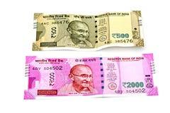 Nuove banconote degli indiani 500 e 2000 fotografia stock libera da diritti