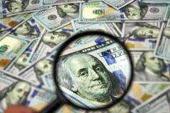 Nuove banconote in dollari dell'americano 100 Fotografie Stock
